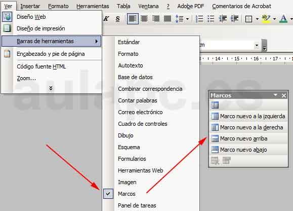Crear un sitio Web con Frames (marcos) desde Word